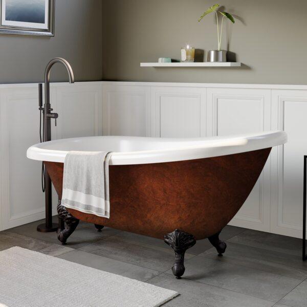 clawfoot tub, slipper tub, faux copper tub,
