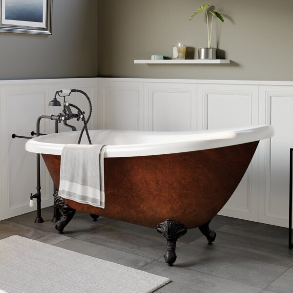 67 Inch Acrylic Slipper Copper Bronze Clawfoot Tub No Holes - AST67