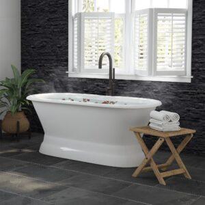 pedestal tub, cast iron tub, dual end tub,