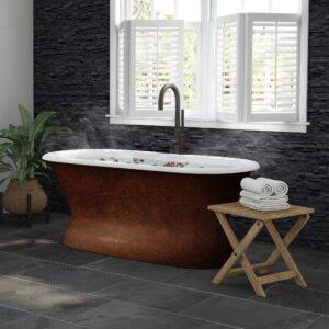 cast iron, copper bronze, double end, pedestal tub,
