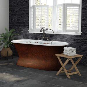 double end, cast iron, pedestal, copper bronze tub,