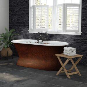 pedestal, double ended, copper bronze, cast iron tub,