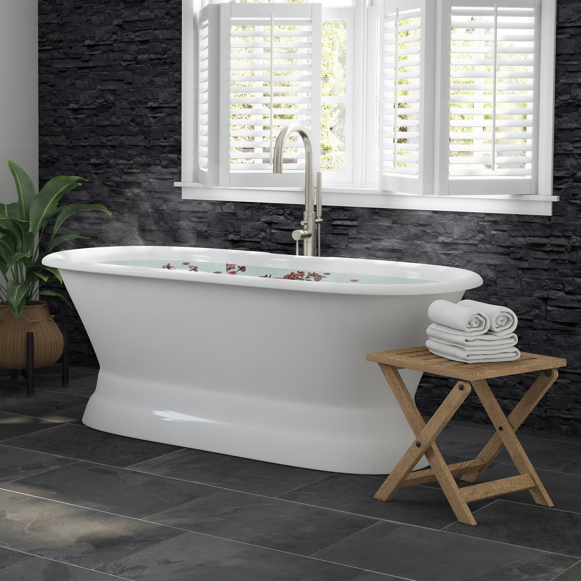 double ended pedestal tub, cast iron tub and faucet,