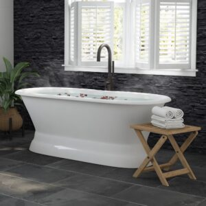 double ended pedestal tub, cast iron tub, tub and faucet package,