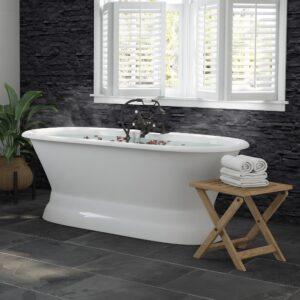 Cast Iron double ended pedestal tub, double end, pedestal, cast iron tub, soaking tub, freestanding tub and faucet pkg,