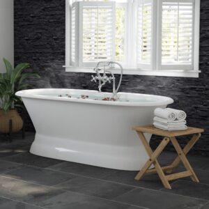 double-ended, cast iron tub, pedestal, tub & faucet pkg,