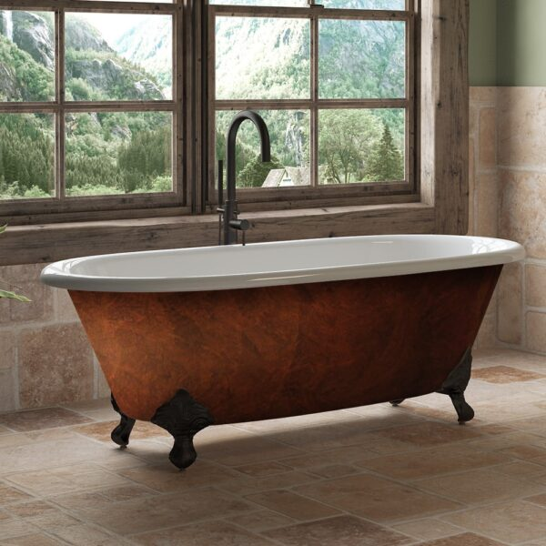 Copper Bronze Cast Iron Double Ended Clawfoot Tub, Claw tub,