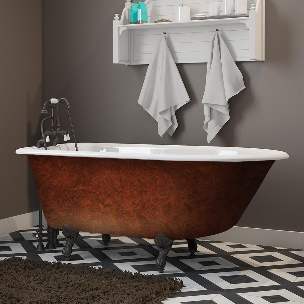 cast iron, rolled rim, copper bronze, clawfoot tub,