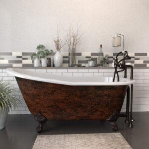 Cast Iron Clawfoot Tub, Copper Bronze Finish, ST67-DH-463D-6-ORB-CB