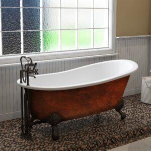 cast iron, copper bronze slipper tub, clawfoot tub,