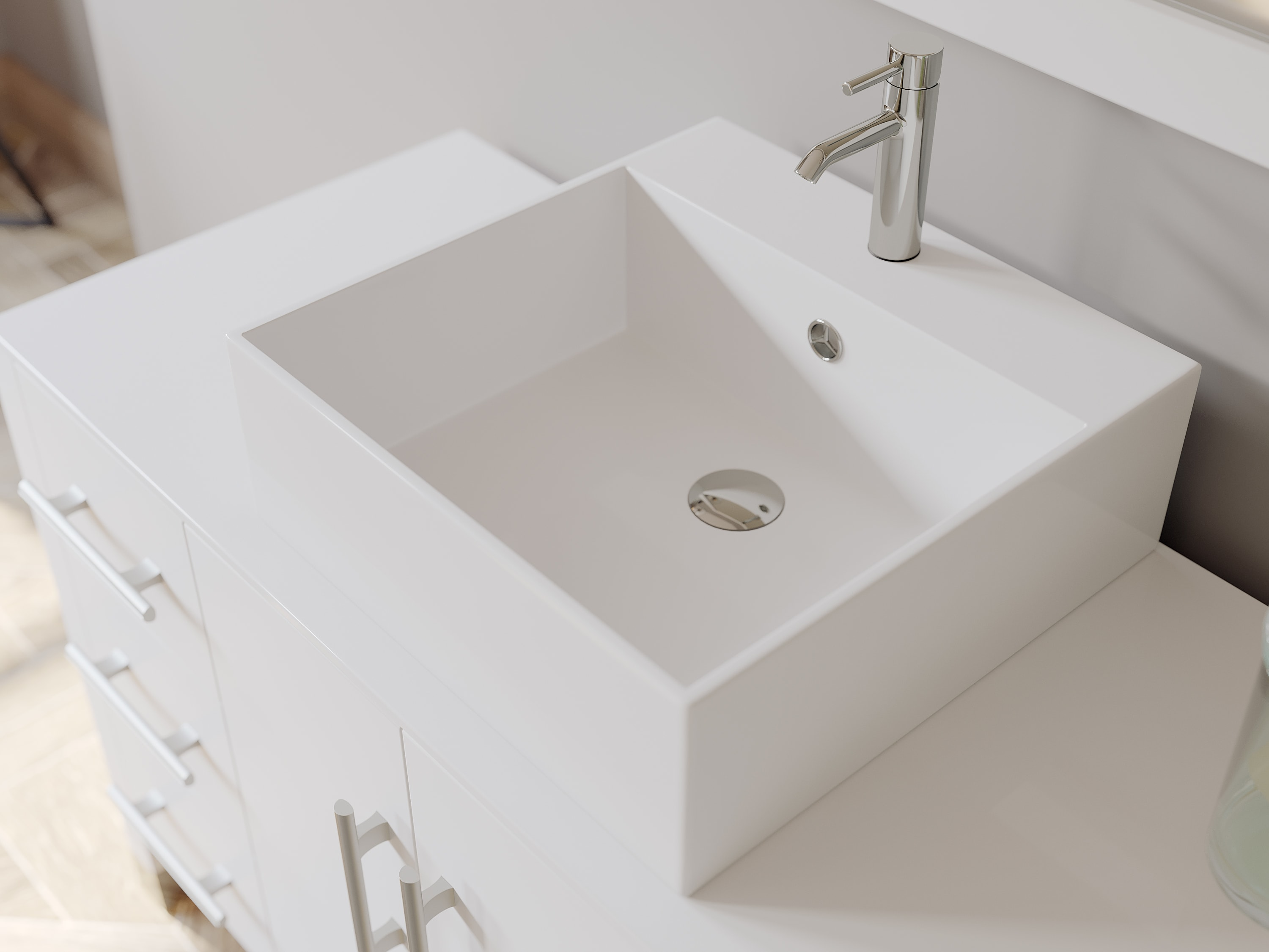 48 Inch White Wood And Porcelain Vessel Sink Bathroom