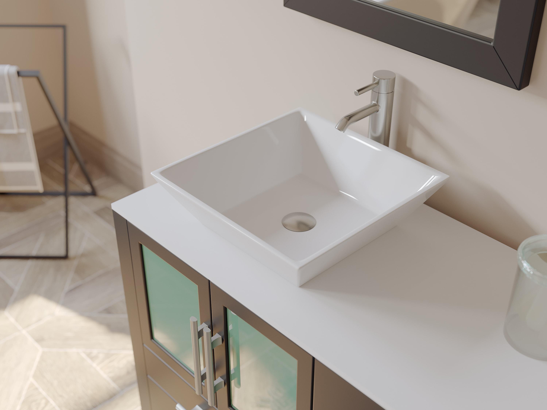 Espresso Oak Wood And Trim Porcelain Vessel Sink Double