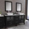 8119F_CP_1 Espresso Double Porcelain Vessel Sink Vanity Set