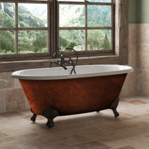 clawfoot tub, Copper Bronze Cast Iron Double Ended Clawfoot Tub