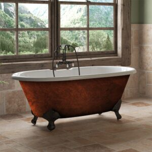 Copper Bronze Cast Iron Double Ended Clawfoot Tub , clawfoot tub,