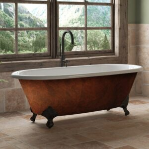 copper bronze, cast iron, double ended, clawfoot tub,