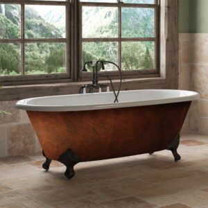clawfoot tub, cast iron, copper bronze, double end tub,