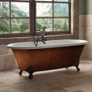 clawfoot tub, double end tub, copper bronze finish, cast iron tub,