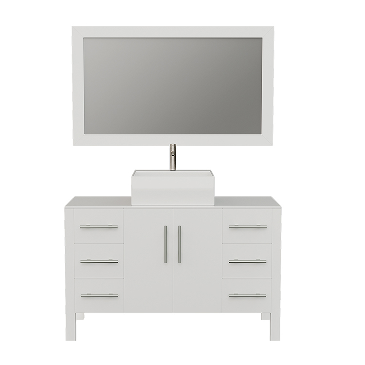 8116W White Bathroom Vanity Set w/Brushed Nickel Faucet