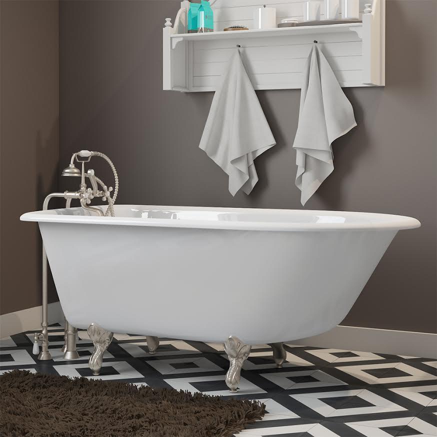 clawfoot tub, cast iron, rolled rim,