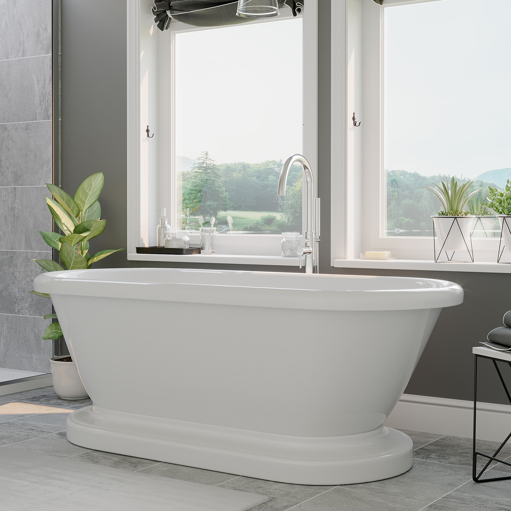 acrylic pedestal tub, double ended tub,