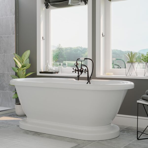 acrylic tub, pedestal tub, double ended pedestal tub,