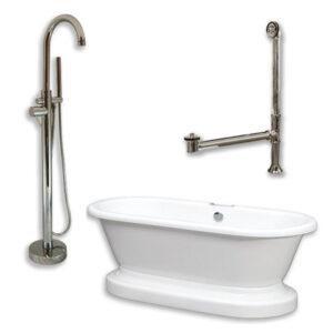 acrylic, double end, pedestal tub, faucet pkg,