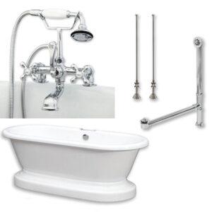 acrylic, double ended, pedestal tub, british telephone faucet pkg,