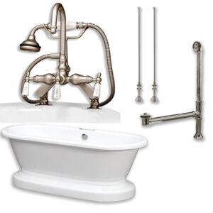 acrylic, double ended, pedestal tub, faucet pkg,