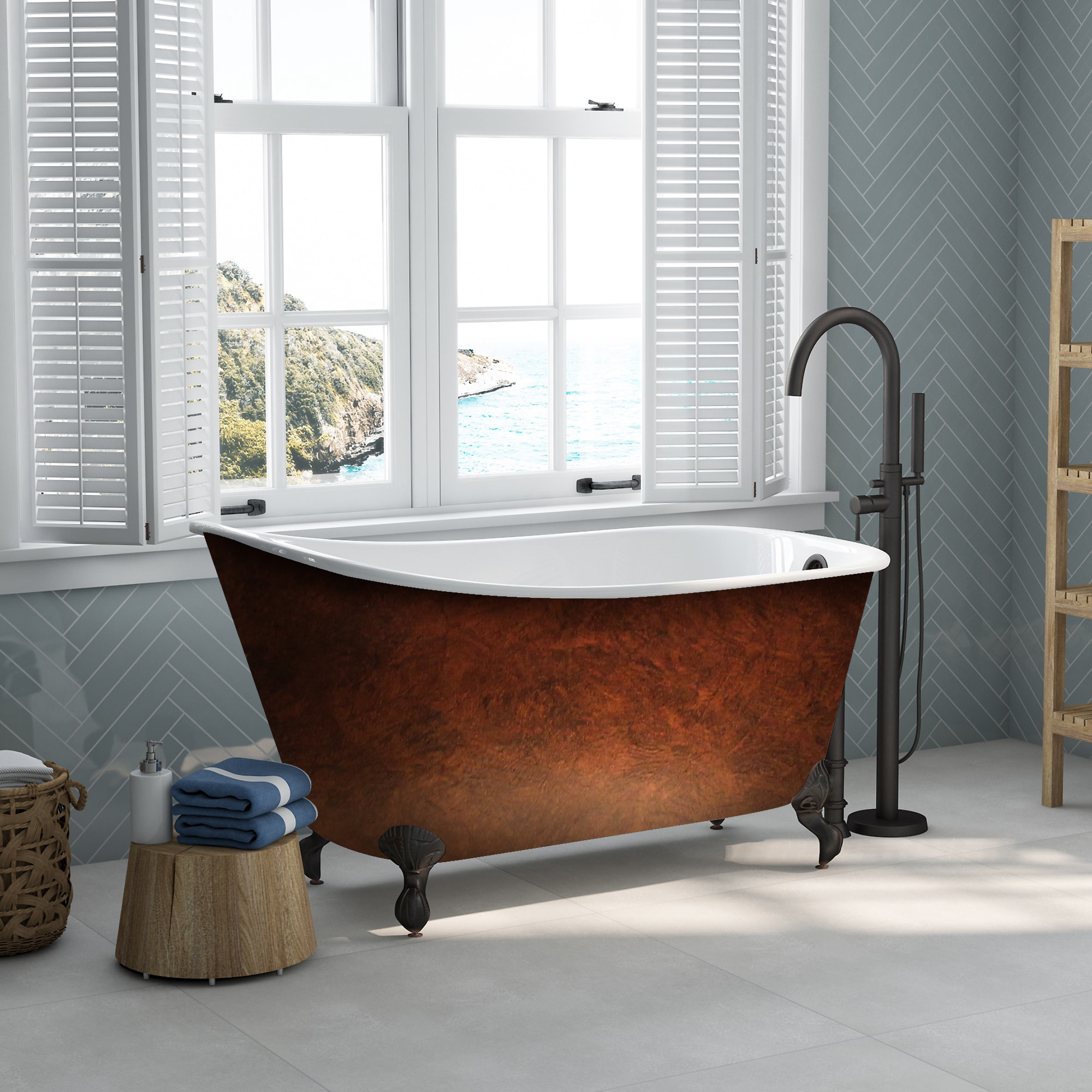 Cast Iron, Clawfoot, Swedish Slipper Tub, Faux Copper Bronze Finish,