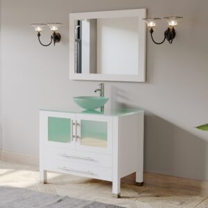 white vanity, glass vessel sink, chrome faucet,