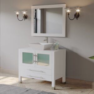 bathroom vanity, white vanity, single vessel sink vanity, brushed nickel faucet,