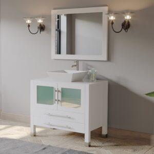bathroom vanity, white vanity, single vessel sink vanity, brushed nickel faucet,