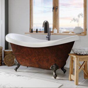 acrylic tub, double slipper clawfoot tub, faux copper tub,