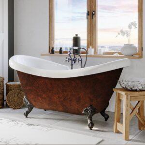 acrylic clawfoot tub, faux copper clawfoot tub,