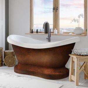 double slipper, pedestal tub, freestanding tub, copper bronze tub,
