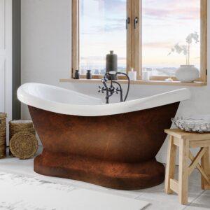 faux copper tub, freestanding tub, pedestal tub, double slipper tub,