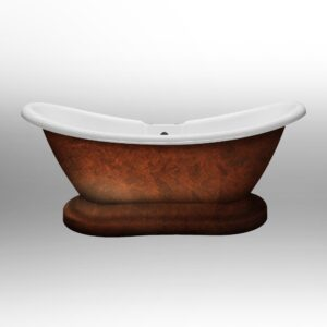 acrylic, double slipper, pedestal tub, faux copper bronze tub,