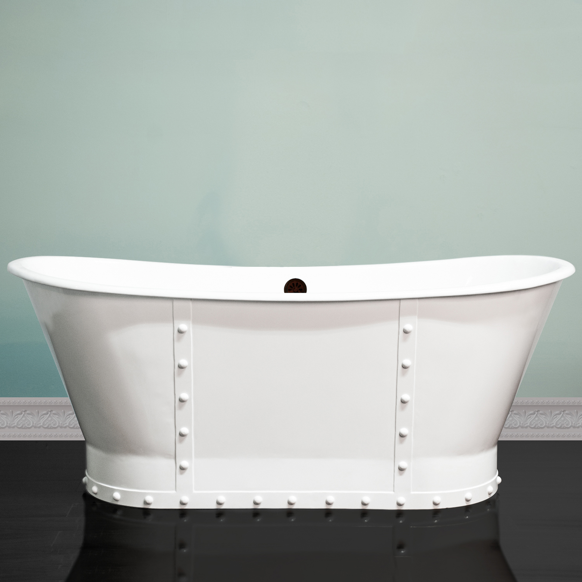 67 Inch Cast Iron Riveted Double Slipper Pedestal Tub No Holes ...
