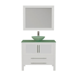 8111BW White Vanity Set w/Brushed Nickel Faucet