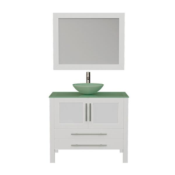8111BW White Vanity Set w/Brushed Nickel Faucet
