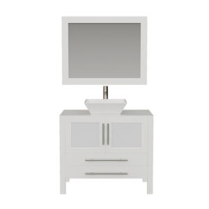 8111W White Bathroom Vanity w/Brushed Nickel Faucet