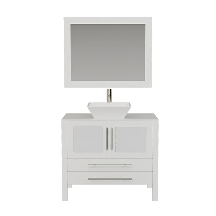 8111W White Bathroom Vanity w/Brushed Nickel Faucet