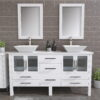 8119WF_BN_2 White Double Porcelain Vessel Sink Vanity Set