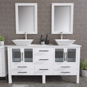 8119WF_BN_2 White Double Porcelain Vessel Sink Vanity Set