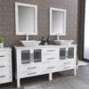 8119WF_CP_1 White Double Porcelain Vessel Sink Vanity Set
