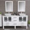 8119WF_CP_2 White Double Porcelain Vessel Sink Vanity Set