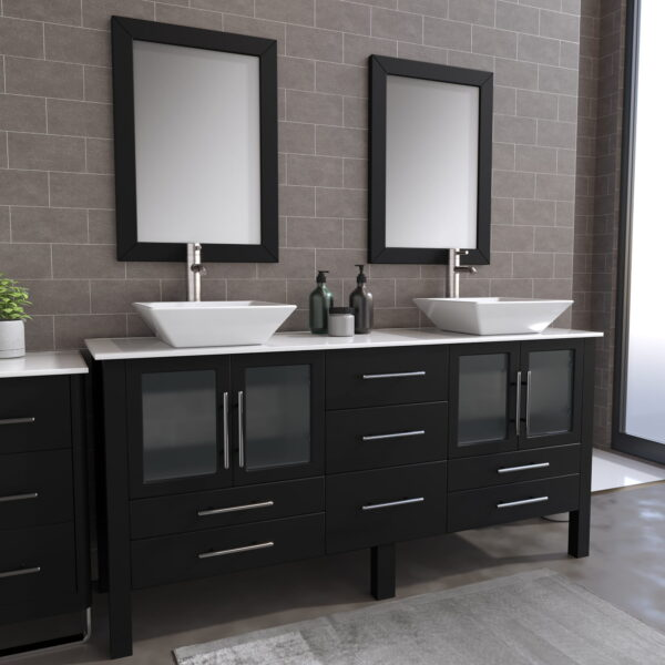 8119XLF_BN_1 Espresso XL Double Porcelain Vessel Sink Vanity Set