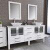 8119XLWF_BN_1 White XL Double Porcelain Vessel Sink Vanity Set