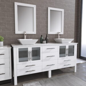 8119XLWF_BN_1 White XL Double Porcelain Vessel Sink Vanity Set